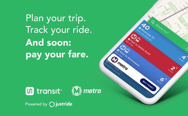 Graphic showing a the Transit app on a phone with text reading Plan your trip. Track your ride. And soon: pay your fare.