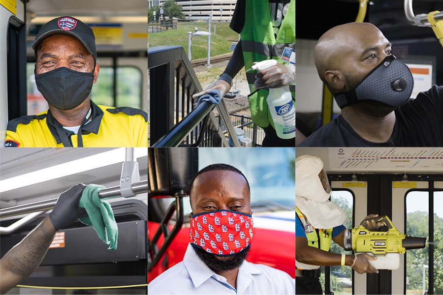 collage of images depicting Metro operators and employees wearing face masks and cleaning surfaces.