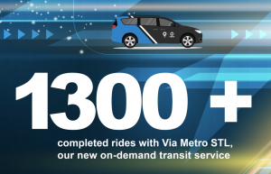 """Graphic on blue and yellow background showing an illustration of the Via Metro STL car, with text that says """"1300 + completed rides with Via Metro STL, our new on-demand transit service."""" The Via and Metro Transit logos are shown on the bottom right of the image."""