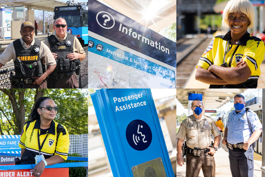 A collage of image showing Metro security at stations along with signage