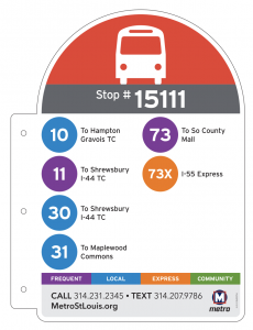 Example of the new bus stop sign, using stop #1511 as the example