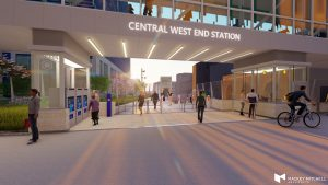 Rendering of Central West End MetroLink Station improvement project