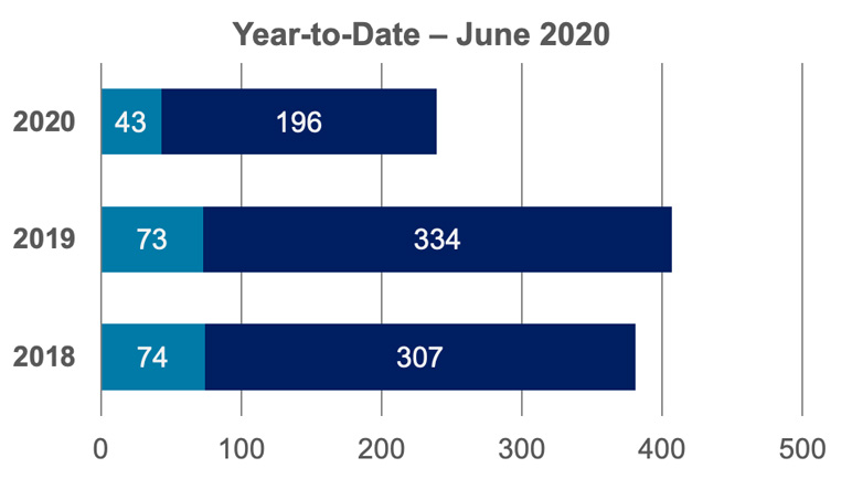 June 2020-YTD Crime Statistics bar graph.