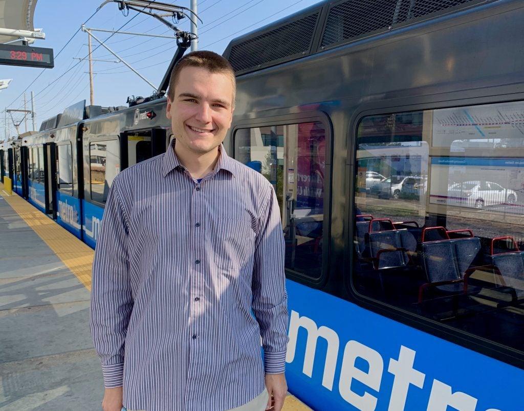 Passenger Nick at the Cortex MetroLink Station