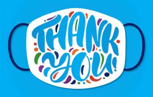 """""""Thank You"""" shown on a white mask on a blue background"""