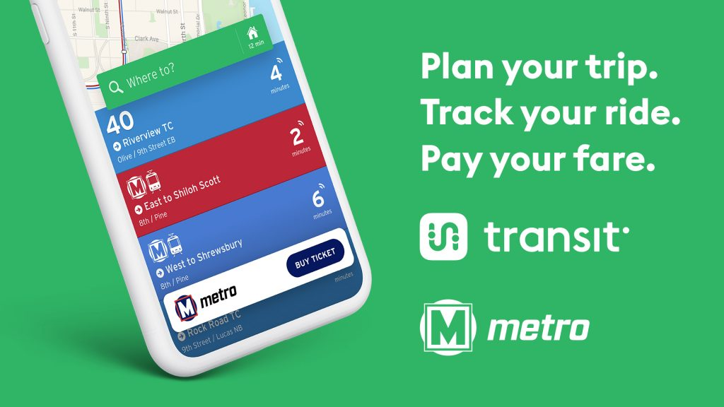 """Green background with a smartphone on the left side showing the Transit app. The text on the right says """"Plan your trip. Track your ride. Pay your fare."""" The Transit app and Metro Transit logos are underneath the text."""