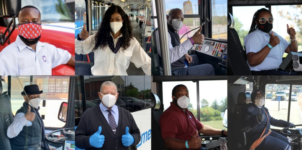 Collage of photos (2 rows of 4) showing our Operators smiling at the camera with face masks on