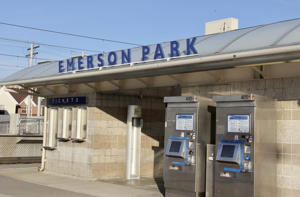 """Photo of the sign at the Emerson Park Transit Center that shows in blue writing """"Emerson Park"""""""