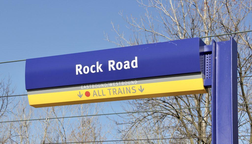 Sign at Rock Road Transit Center