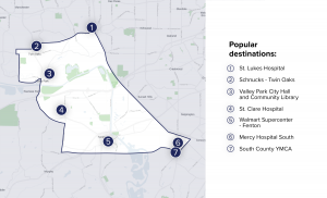 Via Service Area Map for South St. Louis County
