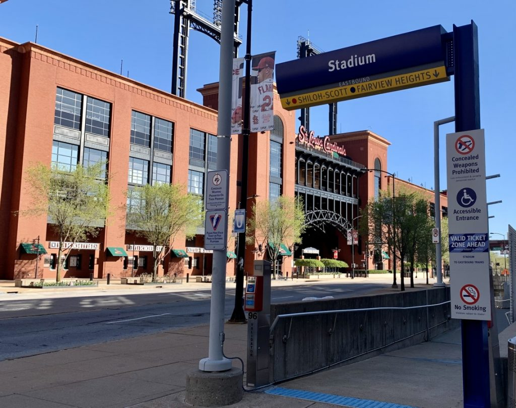 Image showing the entrance to the Stadium MetroLink Station with Busch Stadium in the backrgound