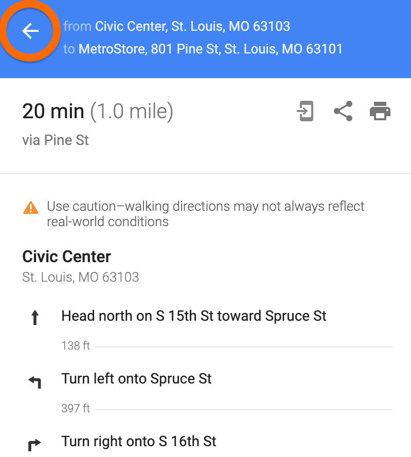 Screenshot of Google Maps on desktop showing where to click the back button to access more route options