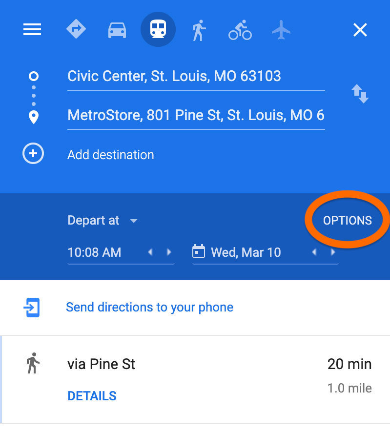Screenshot of Google Maps on desktop showing where to click for more route options