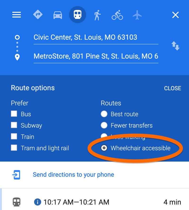 Screenshot of Google Maps on desktop showing where to click for wheelchair accessible route options
