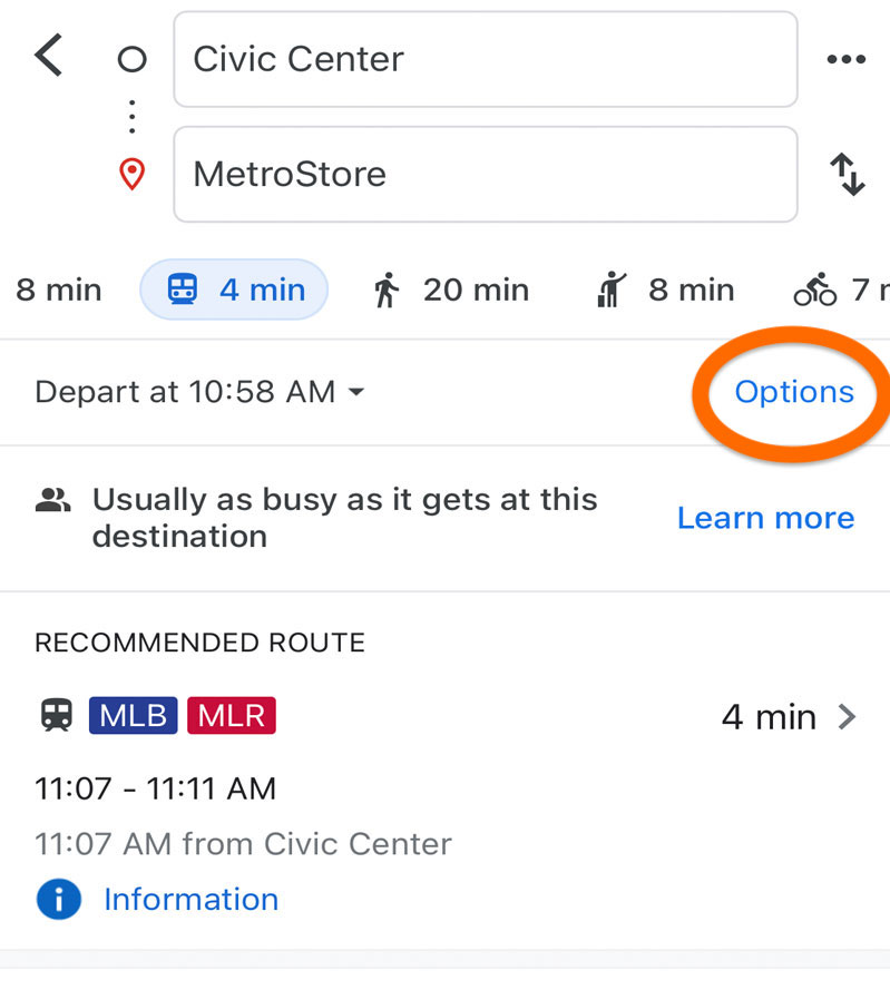 Screenshot of the Google Maps mobile application showing where to click for more route options