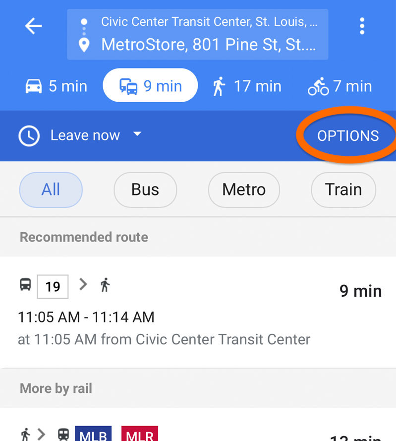 Screenshot of Google Maps in a mobile browser showing where to click for more route options