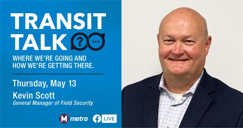 Transit Talk Facebook Live promo graphic, showing a headshot of Kevin Scott and the date of the event (May 13)