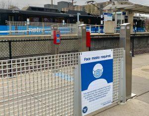 Federal mask mandate signage at Emerson Park Transit Center