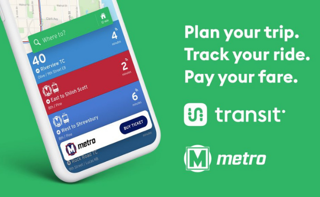 Green background with a smartphone on the left side showing the Transit app. The text on the right says