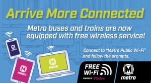 Blue graphic announcing Free Wi-Fi is now on Metro Transit