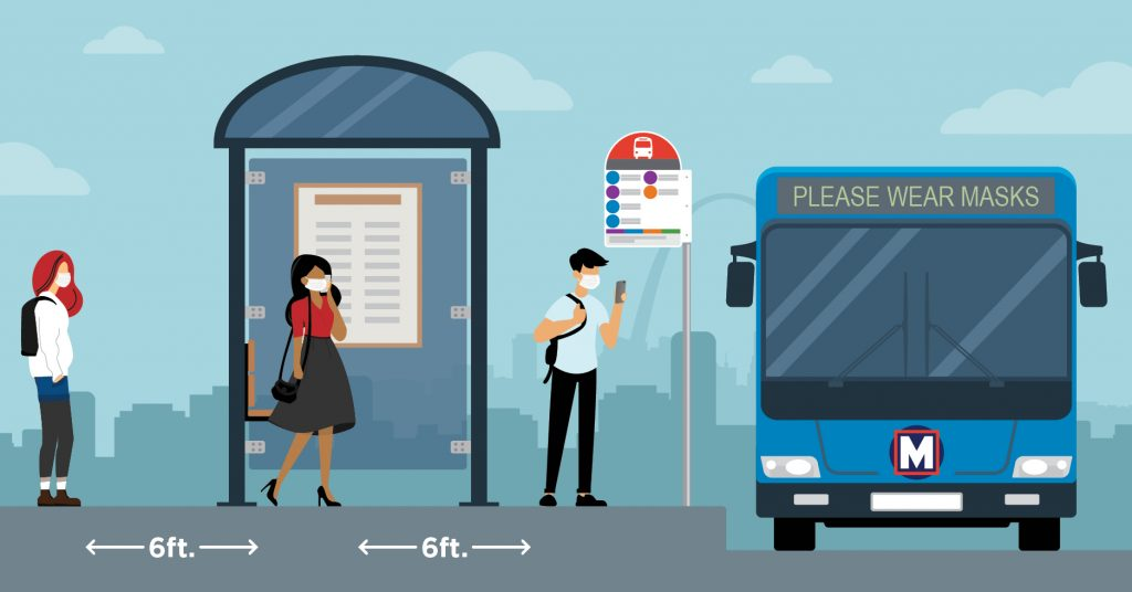 Illustration showing three people standing at a bus stop while a MetroBus pulls up; all are wearing masks