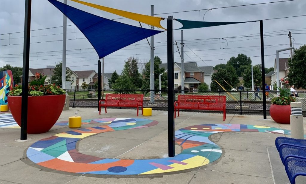 New canopies and colorful artwork at Emerson Park Transit Center
