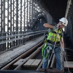 Work continues during the Eads Bridge Rehabilitation project.