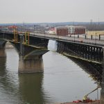Containment structure on Eads Bridge during the rehabilitation project.