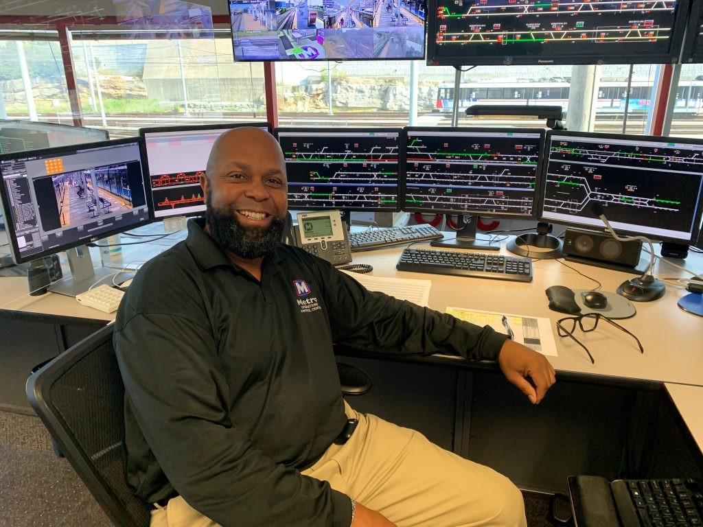 Photo of Lamont inside the MetroLink Control Center