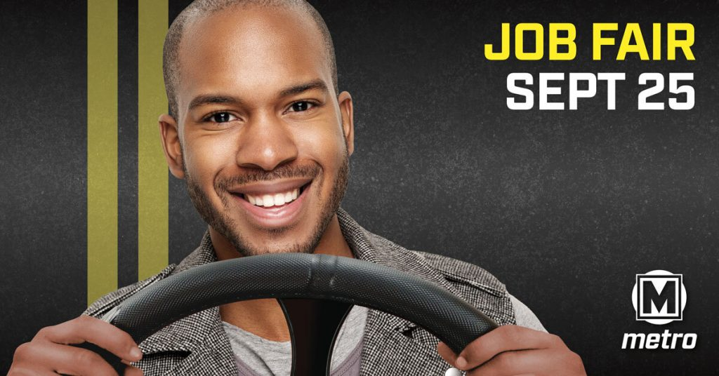 Ad promoting the Metro job fair on September 25, 2021 - man sitting behind the wheel of a vehicle